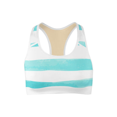 Sea Stripes Sports Bra  -  Yoga Top