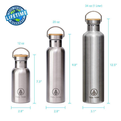 Stainless Steel Water Bottle - 12 oz  -  Reusable Bottle
