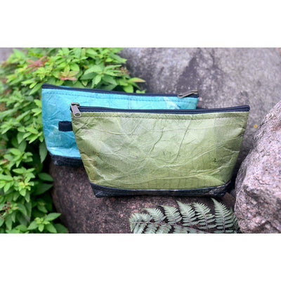 Leaf Leather Stash Bag - Green / Black