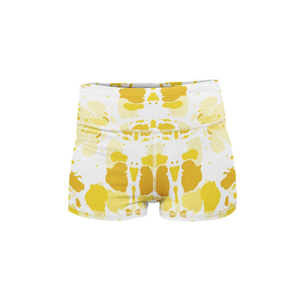 Sunburst Yellow Yoga Shorts  -  Women's Shorts