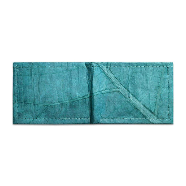 Leaf Leather Bifold Wallet - Turquoise