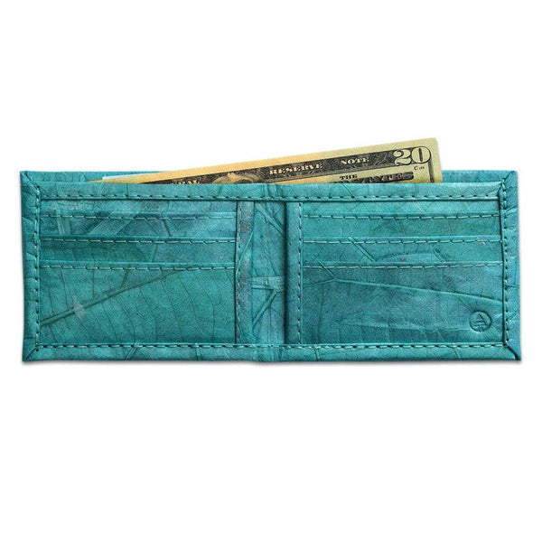 Leaf Leather Bifold Wallet - Turquoise  -  LL Bifold Wallet Turquoise