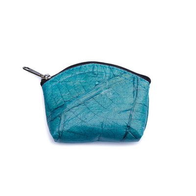 Leaf Leather Coin Bag - Turquoise