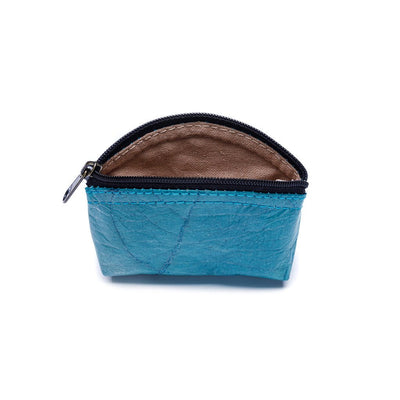 Leaf Leather Coin Bag - Turquoise  -  LL Coin Bag Turquoise