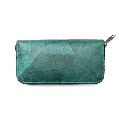 Leaf Leather Women's Long Wallet - Turquoise