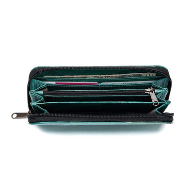 Leaf Leather Long Wallet - Turquoise  -  LL Long Zip Wallet Turquoise
