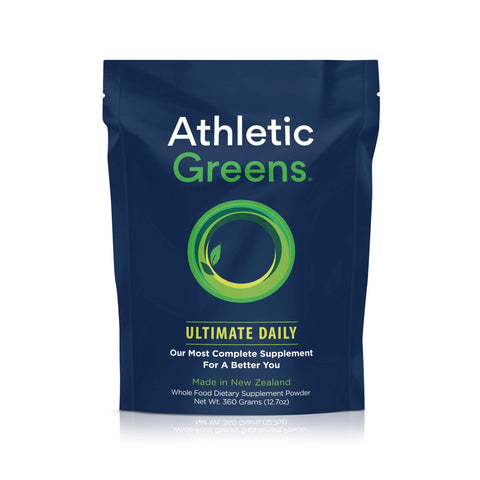 Our favorite daily multi-vitamin supplement: Athletic Greens Ultimate Daily