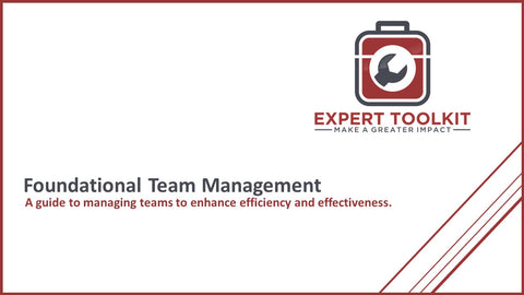 Expert Toolkit - Guide to Foundational Team Management - Cover