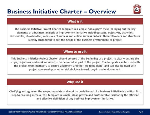 Business initiative project charter template by expert toolkit business initiative project charter template template accmission Gallery