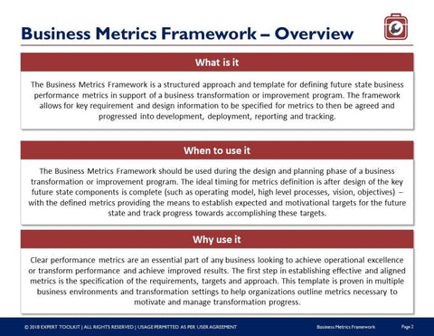 Business metric framework guide template by expert toolkit business performance metric framework guide template template wajeb Choice Image