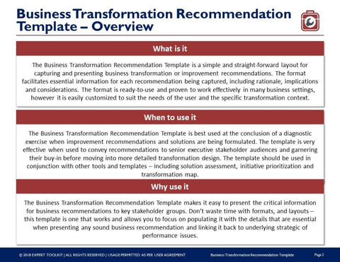 Business transformation recommendation template by expert toolkit business transformation recommendation template template accmission Images