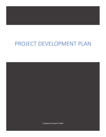 Project Development Plan by Expert Toolkit - Cover