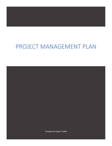 Expert Toolkit Project Management Plan Template - Cover Page