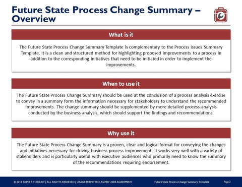 Expert Toolkit Future State Process Change Summary Template - Process change template