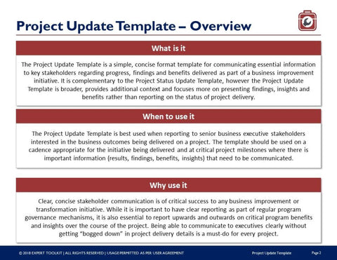 project executive update guide template by expert toolkit