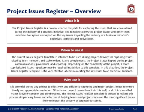 Project Issues Tracking Guide and Template by Expert Toolkit