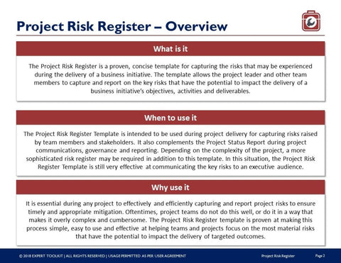 Project risk tracking guide and template by expert toolkit project risk tracking guide and template template accmission Gallery