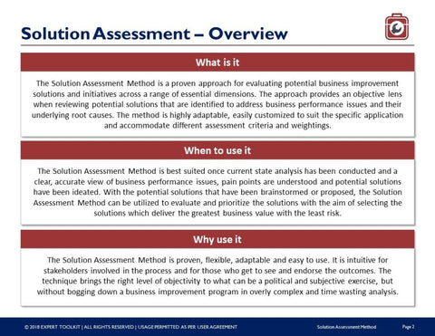 Solution assessment method guide template by expert toolkit solution assessment method guide template template friedricerecipe Images