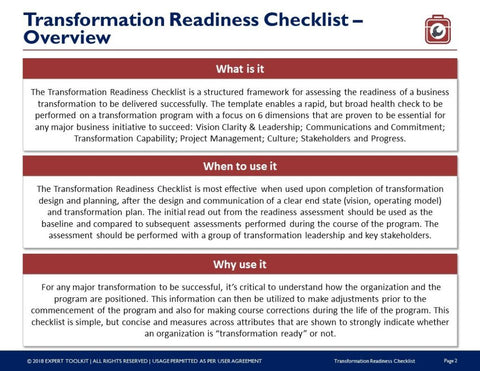 Transformation Readiness Checklist Template By Expert Toolkit