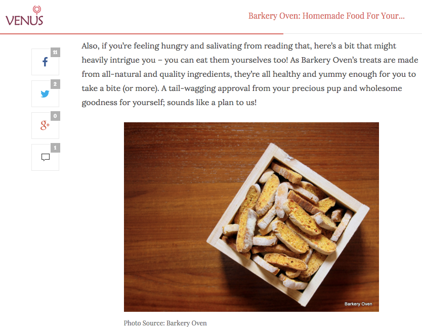 Venus Buzz: Barkery Oven, Homemade Food For Your Dogs!