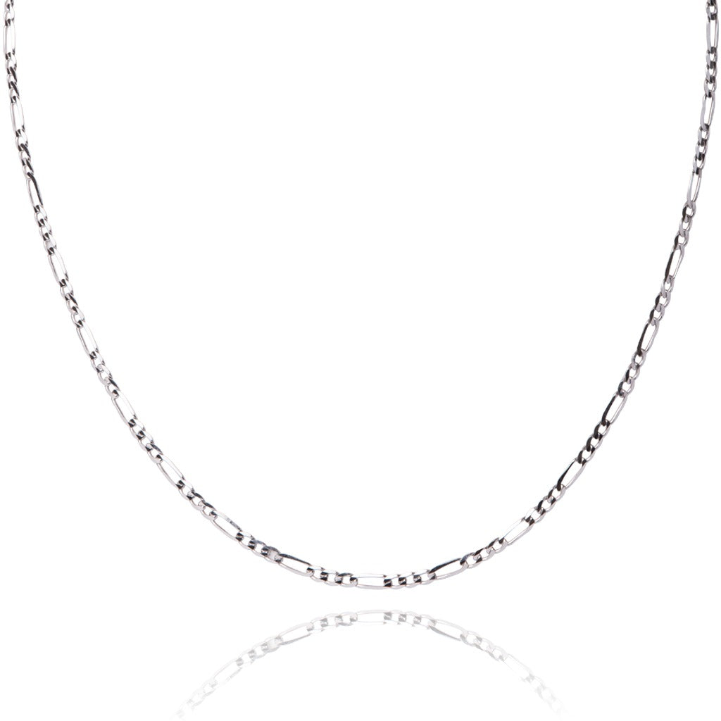 10KT White Gold, Figaro chain - Made in Italy.