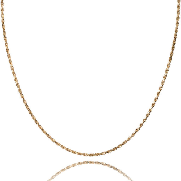 10KT yellow gold 8 sided diamond cut ROPE chain - Made in Italy.