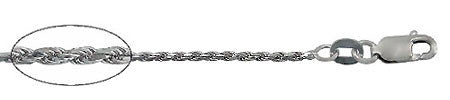 10KT White Gold, 8 sides diamond cut rope chain. Made in Italy - North Jewellery