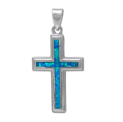 Flat Plain Cross with Opal
