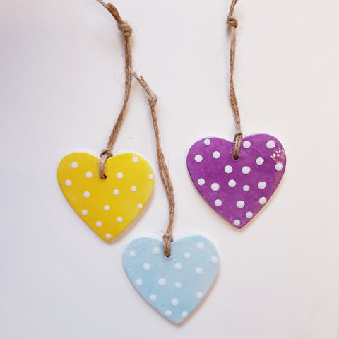Set of 3 Dotted Pastel Hearts-Free Postage