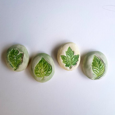 Leaf Keepsake Ceramic Stones - Mandy Mckenna Ceramic Artist