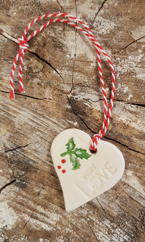 Christmas Ceramic Small Holly Hearts