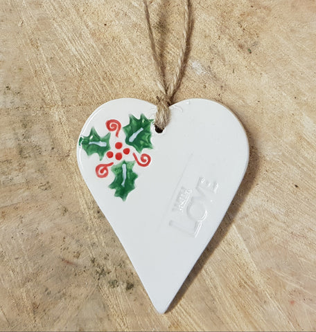 Christmas holly heart with love - Mandy Mckenna Ceramic Artist