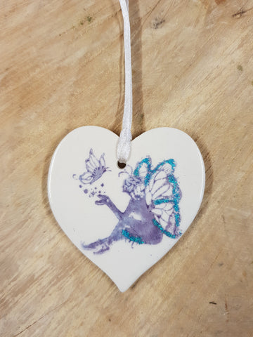 Fairy  Ceramic Heart - Mandy Mckenna Ceramic Artist