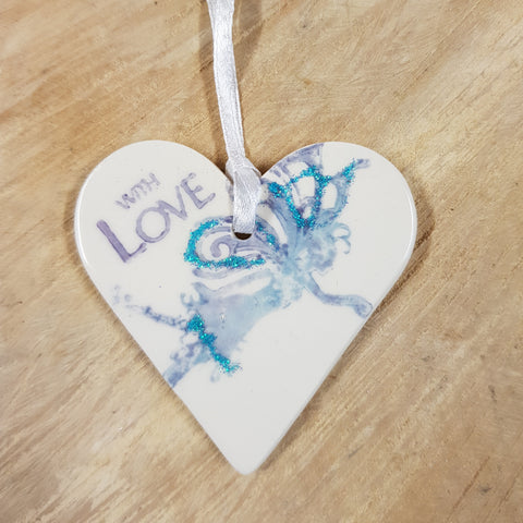 Fairy standing Ceramic Heart - Mandy Mckenna Ceramic Artist