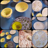Ceramic Floral blue/lime green Bowls/Dishes
