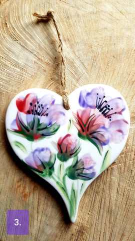 Floral Ceramic Heart- Free Delivery