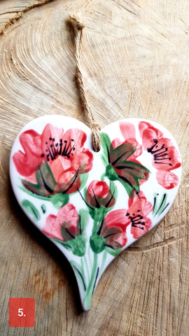 One Ceramic Floral Keepsake Hearts-Free Postage