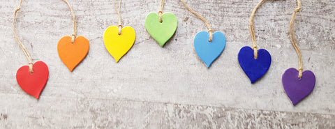 Set of 7 Ceramic Rainbow Hearts
