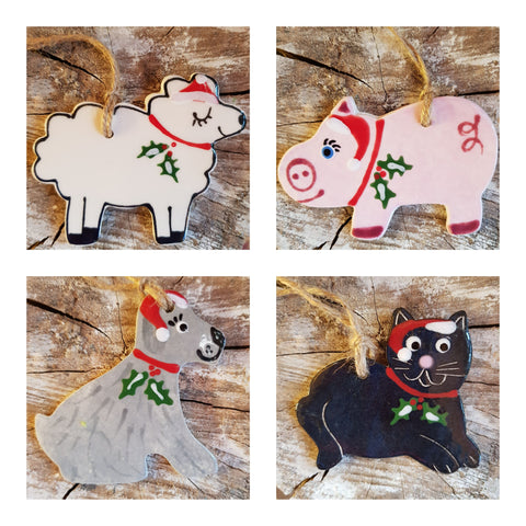 Set of 4  Ceramic Animals -Free Postage