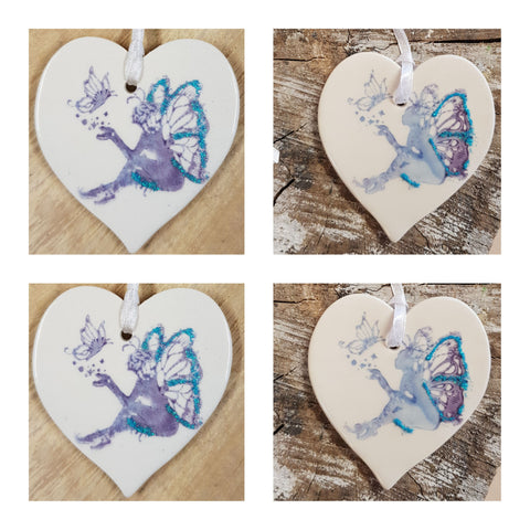 Set of 4 Sitting Ceramic Fairy Heart- Free Delivery