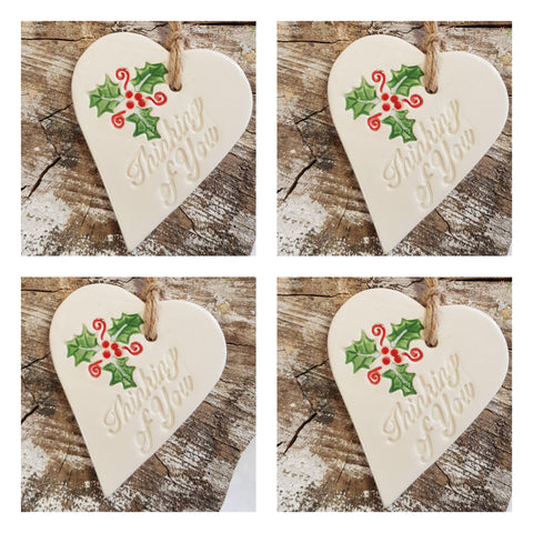 Set of 4 Ceramic Holly Hearts -Thinking of You -Free Delivery
