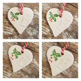 Set of 4 Small Christmas Holly Hearts- Free Delivery
