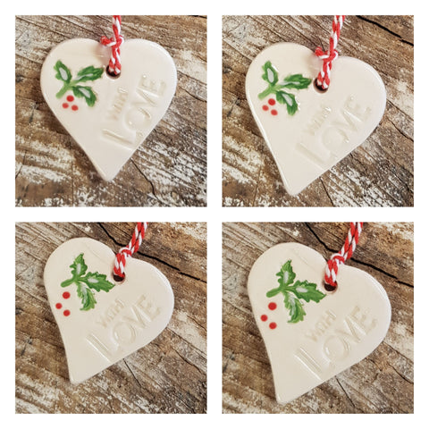 🎄Christmas Holly Heart Set