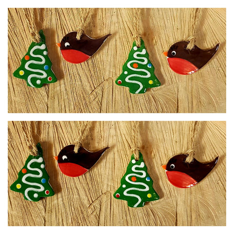Set of 8 Robin & Christmas Tree Decorations-Free Postage