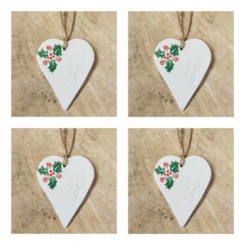 Set of 4 Christmas Holly Heart- With Love- Free Delivery