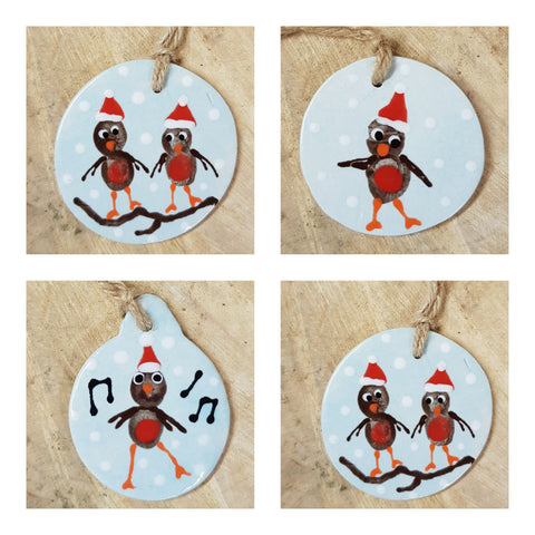 Set of 4 Christmas Robin Decorations-Free Postage