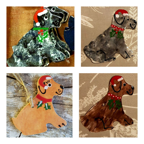 Animal- Christmas Set of 4 Ceramic Dogs-free Postage