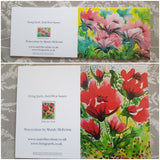 Set of 4 Floral Poppy Style Greeting Cards -Free Postage