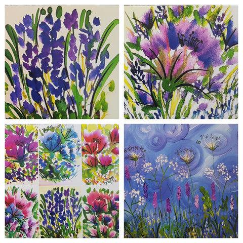 Set of 4 Floral Lavender Design  Greeting Cards-Free Postage