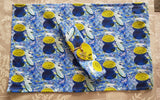 Tableware Set For One - Mediterranean 'Fish On A Dish Design '- Placemat,Serviette & Ceramic Heart Tag -Free Postage